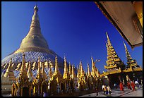 The great golden dome, Shwedagon Paya. Yangon, Myanmar (color)