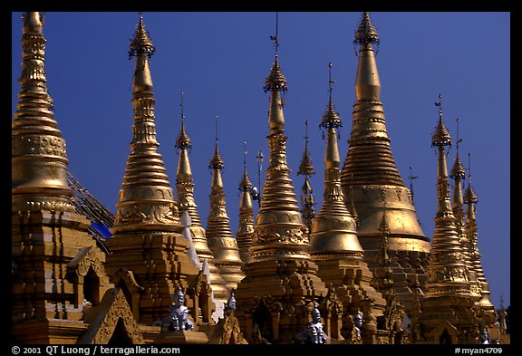 Skyline dominated by spires, Shwedagon Paya. Yangon, Myanmar