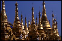 Skyline dominated by spires, Shwedagon Paya. Yangon, Myanmar ( color)