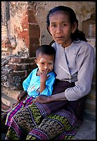Older burmese woman and child. Bagan, Myanmar