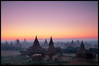 Sunrise over the plain doted with 2000 temples. Bagan, Myanmar ( color)