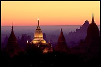 Illuminated pahto, sunrise. Bagan, Myanmar