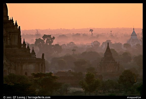 Receeding lines through the dawn mist. Bagan, Myanmar