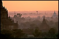 Receeding lines through the dawn mist. Bagan, Myanmar (color)