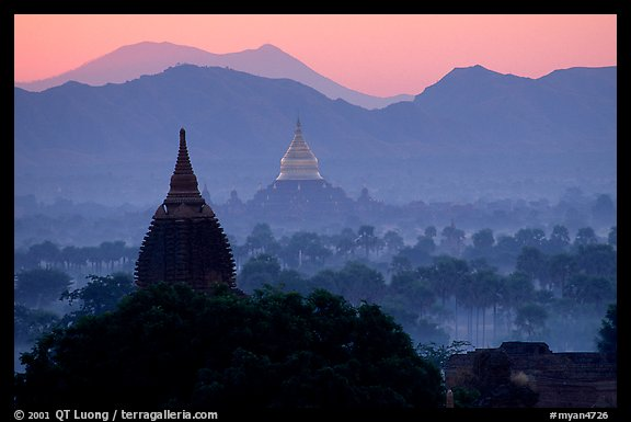 Dhammayazika Paya and mountains at dawn. Bagan, Myanmar (color)