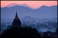 Dhammayazika Paya and mountains at dawn. Bagan, Myanmar