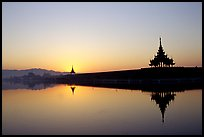 Sunrise on the Mandalay Fort moats. Mandalay, Myanmar ( color)