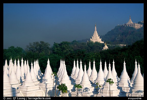 Stupas at Sandamani Paya and Mandalay Hill. Mandalay, Myanmar