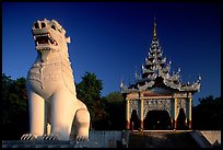 Lion at the entrance of  Mandalay Hill. Mandalay, Myanmar ( color)