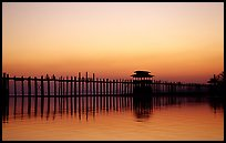 U Bein bridge, worlds longest teak span, Amarapura. Mandalay, Myanmar ( color)