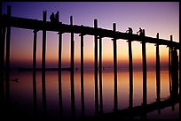 U Bein bridge at sunset, Amarapura. Mandalay, Myanmar (color)