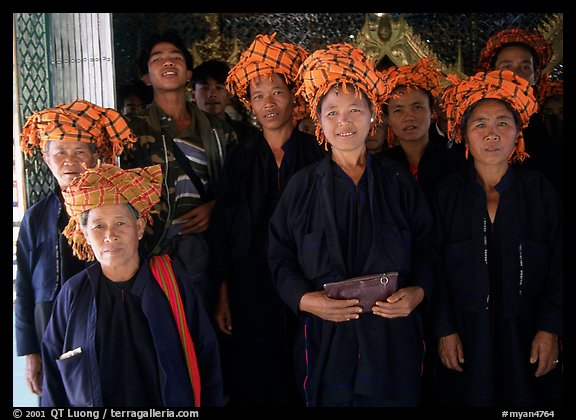 Women from Shan state visiting. Mandalay, Myanmar (color)