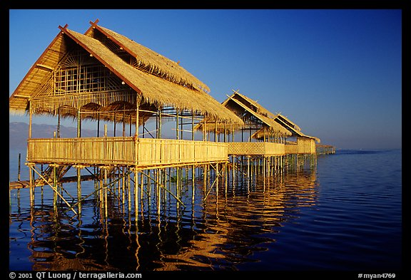 Huts on stilts in middle of lake. Inle Lake, Myanmar (color)