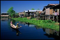 Village built on the lake. Inle Lake, Myanmar (color)