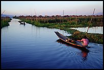 Floating gardens and village. Inle Lake, Myanmar (color)