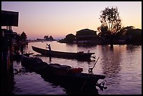 Sunset on the canal at Nyaungshwe. Inle Lake, Myanmar (color)