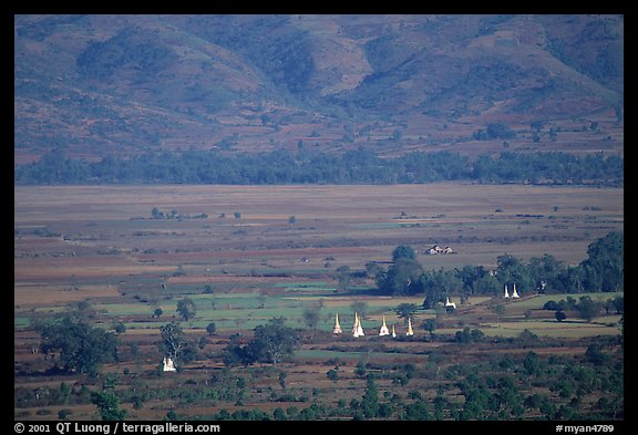 Stupas in the Heho plain. Shan state, Myanmar