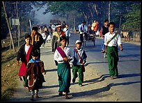 Walking on road near Swwenyaung. Shan state, Myanmar (color)