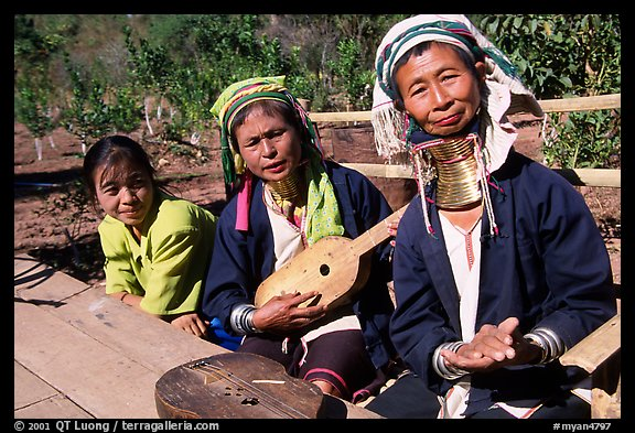 Three generations of Padaung women	singing. Shan state, Myanmar (color)