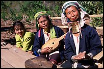 Three generations of Padaung women	singing. Shan state, Myanmar ( color)