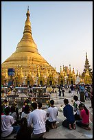 Praying from the Victory Ground, Shwedagon Pagoda, late afternoon. Yangon, Myanmar ( color)