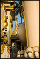 Architectural detail of West gate and Main Stupa, Shwedagon Pagoda. Yangon, Myanmar ( color)