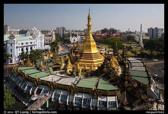 City Hall, Sule Pagoda, and Independence Monument. Yangon, Myanmar (color)