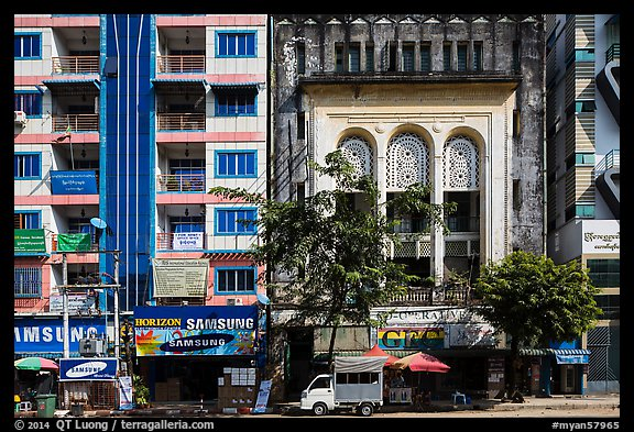 Picture photo modern and colonial area facades in city for Modern house yangon