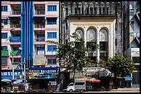 Modern and colonial-area facades in city center. Yangon, Myanmar ( color)