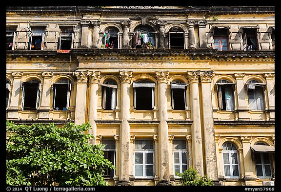 Facade of colonial-area building. Yangon, Myanmar (color)