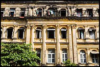 Facade of colonial-area building. Yangon, Myanmar ( color)