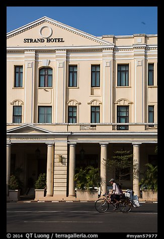 Rickshaw and Strand Hotel. Yangon, Myanmar (color)