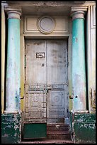 Door framed with columns. Yangon, Myanmar ( color)