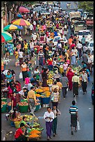Street crowd from above with fruit and vegetable sellers. Yangon, Myanmar ( color)