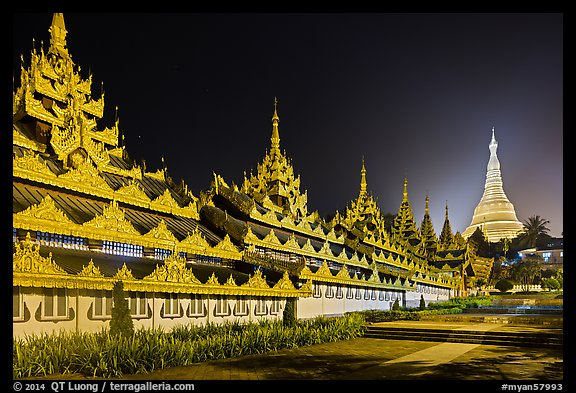 Southern zaungdan and Main Chedi at night, Shwedagon Pagoda. Yangon, Myanmar (color)