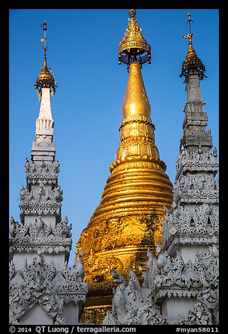 Detail of spires capped with unbrellas, Shwedagon Pagoda. Yangon, Myanmar (color)