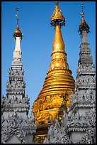 Detail of spires capped with unbrellas, Shwedagon Pagoda. Yangon, Myanmar ( color)