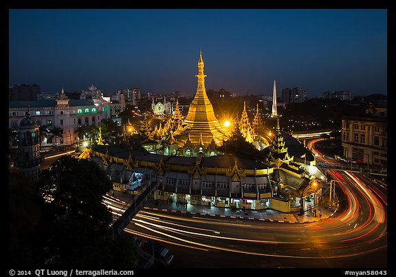 Traffic circle around Sule Pagoda at dusk. Yangon, Myanmar (color)