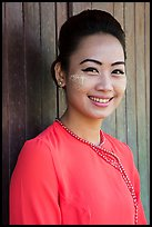 Portrait of young modern burmese woman. Yangon, Myanmar ( color)