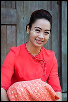 Young modern burmese woman with thanaka paste. Yangon, Myanmar ( color)