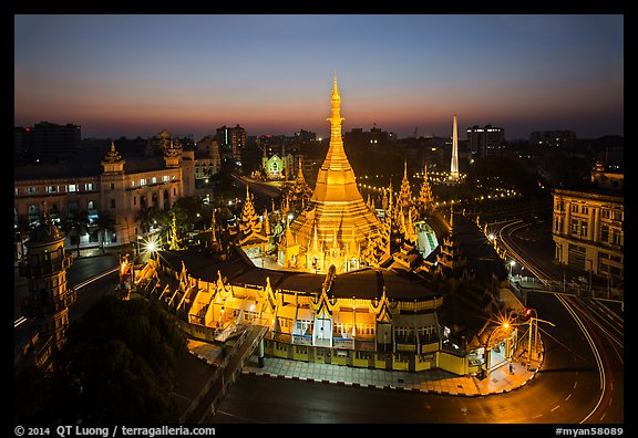 City Hall, Sule Pagoda, and Independence Monument at dawn. Yangon, Myanmar (color)