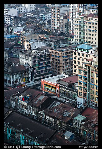 Downtown appartment buildings from above. Yangon, Myanmar (color)