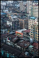 Downtown appartment buildings from above. Yangon, Myanmar ( color)