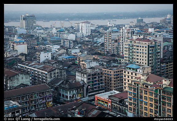 Indian quarter and Yangon River from above. Yangon, Myanmar (color)