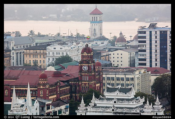 Colonial buildings and Yangon River from above. Yangon, Myanmar (color)