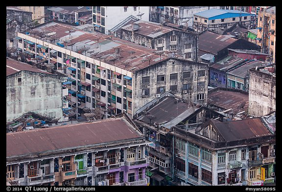 Old appartment buildings from above. Yangon, Myanmar (color)