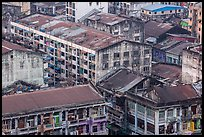 Old appartment buildings from above. Yangon, Myanmar ( color)