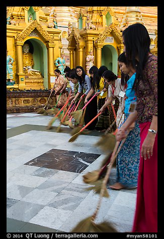 Women sweeping platform, Shwedagon Pagoda. Yangon, Myanmar (color)