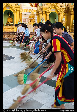 Floor sweepers, Shwedagon Pagoda. Yangon, Myanmar (color)