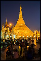 Golden dome seen from the Victory Ground at dusk, Shwedagon Pagoda. Yangon, Myanmar ( color)